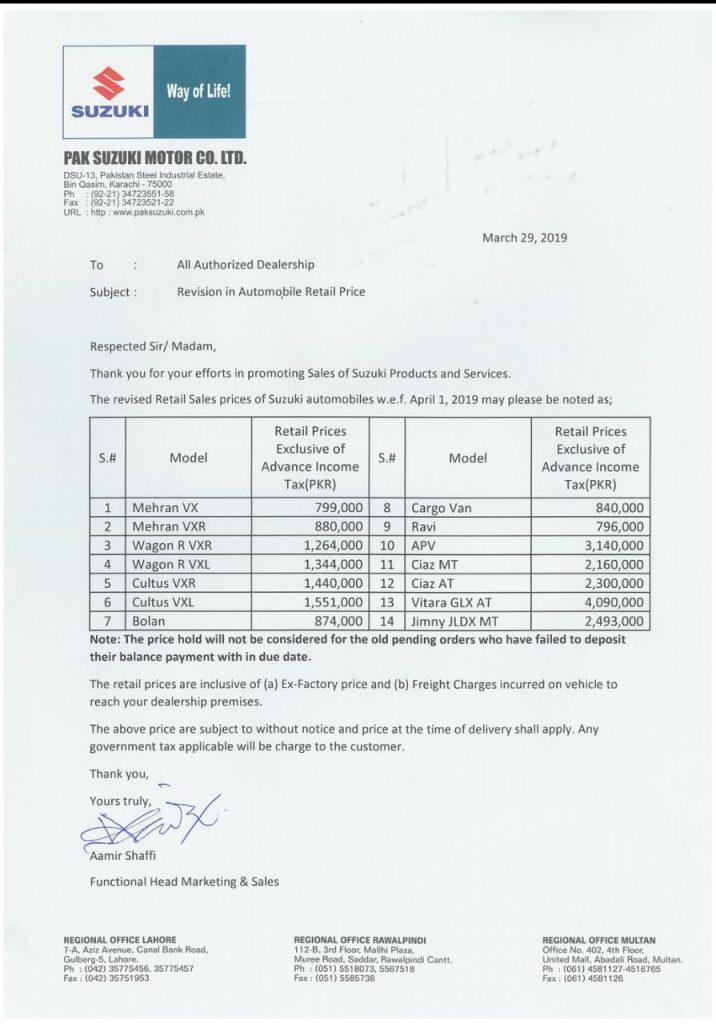 Pak Suzuki & Atlas Honda Car increases the prices of its vehicles